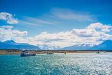 Puerto Natales / Magallanes Y La Antartica Chilena Region / Chile: Puerto Natales View From The Boat Crossing.