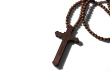 Wooden Christian Cross Necklace Isolation On White Background