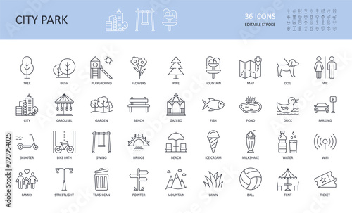 Obraz Vector city park icons set. Editable stroke. Tree fountain pond fish bush bench bridge garden pine playground flowers streetlight WC. Family mountain map ticket scooter lawn wifi ball umbrella parking - fototapety do salonu