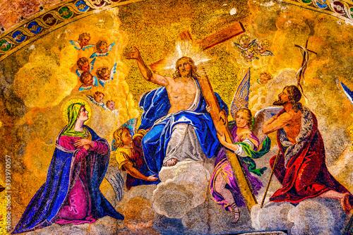 Jesus Christ Mosaic Saint Mark Cathedral Basilica Venice Italy