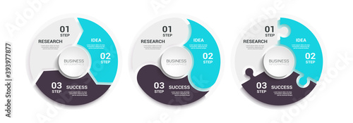 Fotografija Modern Round Chart 3D Infographic Template with a Three Steps for Success