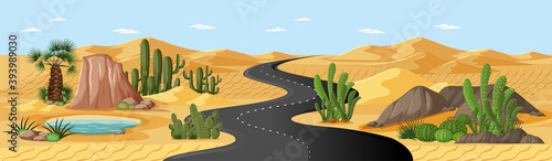 Desert oasis with road and palms and cactus nature landscape scene Fototapeta