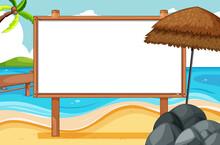 Blank Wooden Frame In Beach Sc...