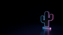 3d Glowing Neon Symbol Of Symbol Of Cactus Isolated On Black Background