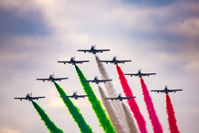 Frecce Tricolori Italian Acrobatic Aircraft Team During Exhibition At Milan Linate Airport Airshow