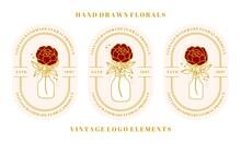 Hand Drawn Vintage Botanical Rose Illustration, Peony Flower Logo Template, Bottle, Jar, And Feminine Beauty Brand Element Collection