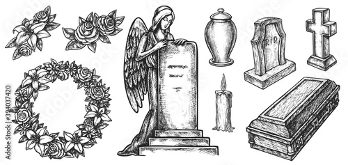 Carta da parati Funeral service or mortuary burial ceremony agency attribute