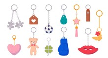 Trinket Metal Keychain With Silver Ring For Key And Breloque. Key Holder With Pendant Souvenir Product Different Shape, Design And Form For Gift Vector Illustration Isolated On White Background