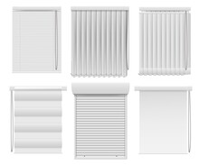 Horizontal Vertical Darkening Window Blind Curtain Set. Realistic Roller Jalousie Shutter For Office Or Home Design Interior And Privacy Protection Vector Illustration Isolated On White Background