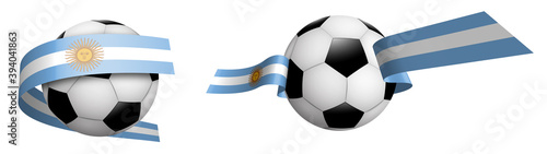 Fotomural balls for soccer, classic football in ribbons with colors Argentina flag