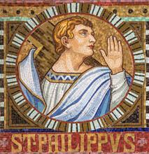 VIENNA, AUSTIRA - OCTOBER 22, 2020: The Detail Of Apostle From Mosaic Of Apostle St. Philip In Church Pfarrkirche Kaisermühlen.