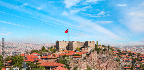 Ankara Castle with bright blue sky - Ankara, Turkey Fototapet