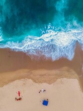 Aerial View Of Surf At Beach