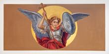VIENNA, AUSTIRA - OCTOBER 22, 2020: The Fresco Of St. Michael Archangel In The Church St. Johann Der Evangelist.