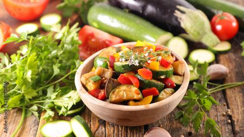 Fototapeta ratatouille- grilled mixed vegetable and herbs obraz