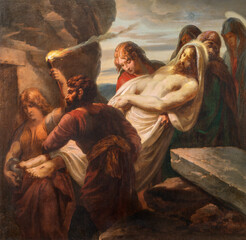 Panel Szklany Podświetlane Dla Kościoła VIENNA, AUSTIRA - OCTOBER 22, 2020: The painting burial of Jesus in church St. Johann der Evangelist by Karl Geiger (1876).
