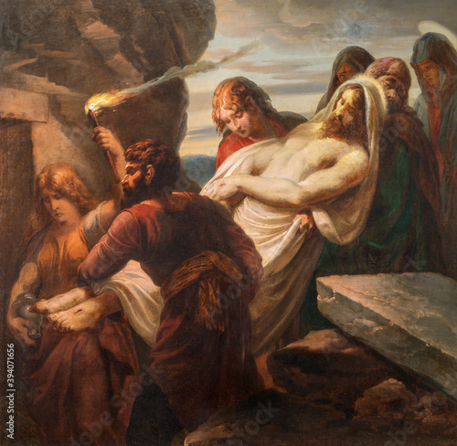 VIENNA, AUSTIRA - OCTOBER 22, 2020: The painting burial of Jesus in church St Wallpaper Mural