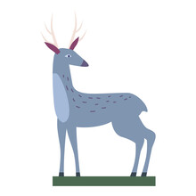 Retro Toy Deer Vector Isolated Vintage Illustration Trendy Flat Cartoon