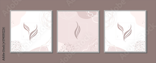 Photo abstract paintings, triptych in restrained craft, beige tones, leaves, feathers