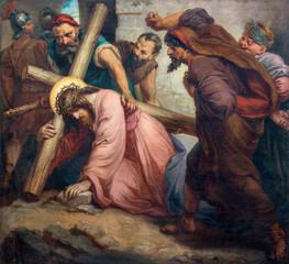 Fototapeta Dla Kościoła VIENNA, AUSTIRA - OCTOBER 22, 2020: The painting fall of Jesus under the cross in church St. Johann der Evangelist by Karl Geiger (1876).