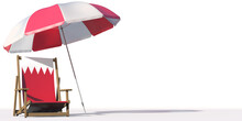 Isolated Beach Chair With Flag Of Bahrain And Big Umbrella, Travel Or Vacation Concepts. 3d Rendering