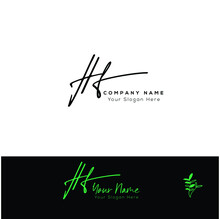 H F HF  Initial Letter Handwriting And Signature Logo. Beauty Vector Initial Logo .Fashion, Boutique, Floral And Botanical