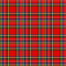 Classic Style Tartan With A Red, Green, Blue And Yellow Woven Plaid Textured Effect