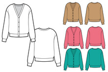 Fashion Technical Sketch Of Set Woman Knit Cardigan In Vector Graphic.