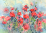 Sunny and red poppy field watercolor background - 394100658