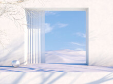 Natural Beauty Podium Backdrop For Cosmetic Product Display. Winter 3d Scene Background.