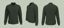 Harrington Jacket Mockup Front, Side And Back Views, 3d Illustration, 3d Rendering