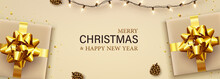 Merry Christmas And Happy New Year Banner With Gold Gift Boxes, Garlands, Shiny Confetti, Pinecones. Christmas Greeting Card, Cover Poster, Holiday Banner, Greeting Card, Brochure, Top View.