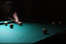 Billiard Club. Gambling Table With Russian Billiard Set And Dark Cue Ball. Russian Pyramid (Russian Billiard, Pyramid Billiards), Cue Sport.