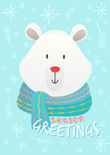 Flat Cute Christmas Vector Sign And Symbol Postcard Background With Cute Polar Bear Wearing Scarf. Christmas Festive Texture Greetings Card Background. Winter Holiday Background.