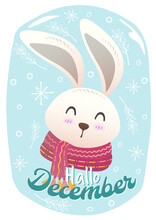 Flat Cute Christmas Vector Sign And Symbol Postcard Background With Cute Rabbit Wearing Scarf. Christmas Festive Texture Greetings Card Background. Winter Holiday Background.