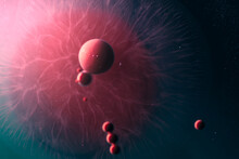Abstract Spheres On Colorful Background With Texture