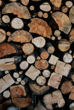 Close Up Of Cut Wood In Many Different Shapes And Sizes In A Pile