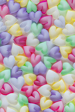 Hearts Made With Paper Strips Collected Together As Colorful Backdrop