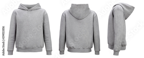 Obraz Grey hoodie template. Hoodie sweatshirt long sleeve with clipping path, hoody for design mockup for print, isolated on white background. - fototapety do salonu