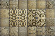 Gold Islamic Art 3d Pattern Set. Pattern Islamic Motif. Ramadan Kareem Vector. Design Ornament Ottoman Muslim Circle. 3D Eid Background.