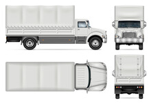 Truck With Awning Vector Mockup On White For Vehicle Branding, Corporate Identity. View From Side, Front, Back, Top. All Elements In The Groups On Separate Layers For Easy Editing And Recolor.