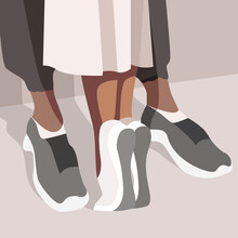 Feet Of Young People. Loving Couple. Vector Flat Illustration. Background For The Postcard