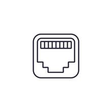 Ethernet Port Line Icon, Rj45 Network Socket