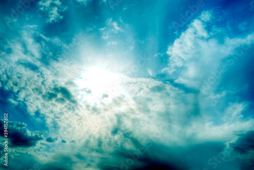 mystic mystical divine angelic sky with clouds and Light in intensive blue color Fototapet