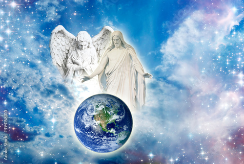 Canvastavla angel archangel and Jesus Christ with open arms over Earth in divine sky with Li