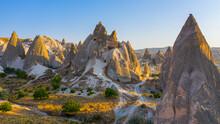 Sunrise View Of Unusual Rocky Landscape In Cappadocia, Turkey