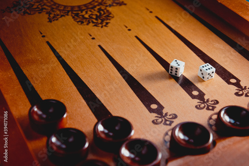 Fototapeta wooden backgammon game