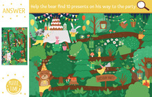 Vector Birthday Surprise Party Searching Game With Cute Woodland Animals. Find Hidden Presents In The Forest. Simple Fun Educational Holiday Printable Activity For Kids With Cake And Candles.