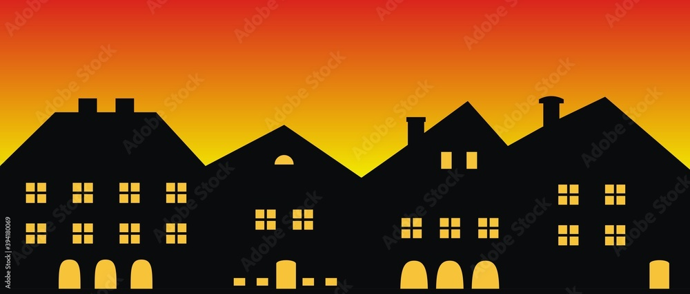 Fototapeta Cityscape,sunset or sunrise, vector illustration