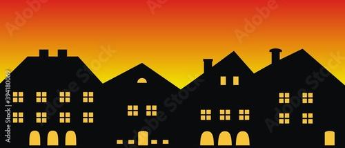 Obraz Cityscape,sunset or sunrise, vector illustration - fototapety do salonu